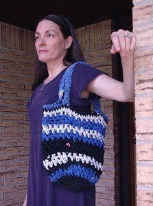 Using T-shirt yarn to make http://amandashappyhearth.blogspot.com/2010/09/ultimate-recycled-market-bag.html