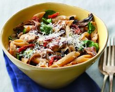 Ingredients 12 ounces whole grain penne pasta 2 tablespoons olive oil 12 ounces skinless, boneless chicken breast ½ teaspoon salt ½ teaspoon freshly ground black pepper 1 medium onion 8 ounces sliced assorted fresh mushrooms (ie: cremini, oyster, shitake, portobello) 3 gloves garlic 1 tablespoon fresh thyme leaves 1 ½ cup low-sodium chicken broth ¼ …