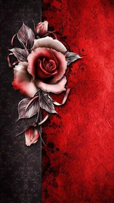 The Rose Greeting ~ Digital Art in Reds and Grays