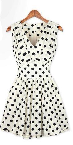 Polka Dot Slim Fold Dress