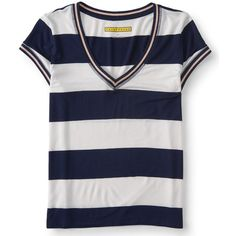 Aeropostale Prince & Fox Rugby V-Neck Ringer Tee*** ($8.99) ❤ liked on Polyvore featuring tops, t-shirts, classic navy, navy stripe t shirt, v neck t shirts, navy blue v neck t shirt, fox t shirt and striped v neck t shirt