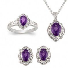 9b3b41c57 Affordable jewelry set: Set of Amethyst ring, pendant necklace and earrings  diamond box set