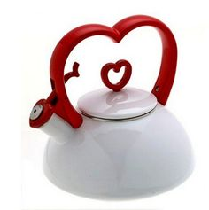 Red and white teapot. Cute