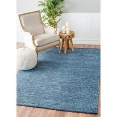 Shop for nuLOOM Handmade Flatweave Contemporary Solid Cotton Blue Rug (9' x 12'). Get free shipping at Overstock.com - Your Online Home Decor Outlet Store! Get 5% in rewards with Club O!