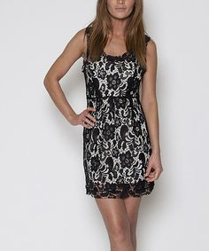Take a look at the Black & Cream Lace Sleeveless Dress - Women on #zulily today!