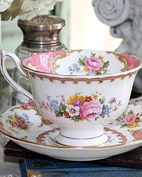 Vintage 1944 Royal Albert Pink Lady Carlyle Avon Tea Cup-romantic, floral, roses, bluebells, forget-me-not, gold, rococo,18th century,teacup,saucer, yellow, blue, apricot,peach,lavender, porcelain,bone china,