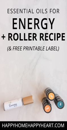 Best Essential Oils For Energy + Roller Ball Recipe & Free Printable Label - tamina Essential Oils Energy, Oils For Energy, Making Essential Oils, Essential Oils For Sleep, Essential Oil Uses, Doterra Essential Oils, Roller Bottle Recipes, Esential Oils, Recipe Download