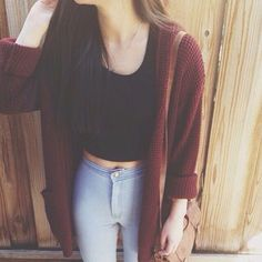 crop top, cute outfit, jeans, my style, outfit, tumblr