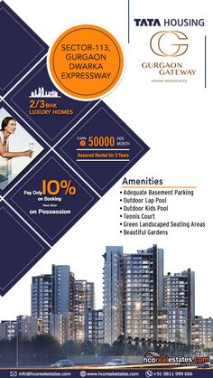 """Tata housing builder is offering a home space """"Tata Gurgaon Gateway"""" with a combination of 2 BHK, 3 BHK Small and 3 BHK Large apartments. Real Estate Advertising, Real Estate Marketing, Instagram Story, Instagram Feed, Jogging Track, Certificate Design, Kid Pool, Social Media Banner, Real Estates"""