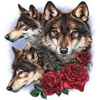 WOLF)Rose WoLf Cross Stitch Pattern***L@@K***