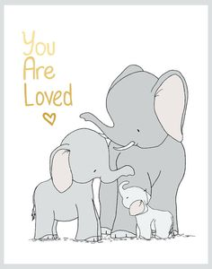 Elephant Family You Are Loved Print by SweetMelodyDesignsBoy Nursery Art : You can CUSTOMIZE this print to any colors you choose, either from the color chart or a picture or link, just let me know Elephant Family, Cute Elephant, Elephant Nursery Art, Scrapbooking Image, Baby Elefante, Elephant Photography, Crafts With Glass Jars, Animes Wallpapers, Baby Boy Nurseries