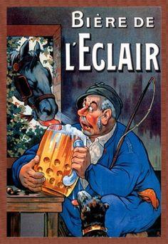 Bière de l'Eclair, by Eugène Ogé, Paper Poster.....www.ArtParisienne.com