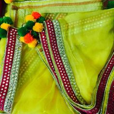 Yellow Chiffon Dupatta with Mirror Border - Pure Chiffon Dupatta with border in magenta and light gold. This can be teamed up with Yellow / Black / Magenta / Green Salwar Suit or Lehenga