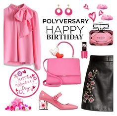 """""""Celebrate Our 10th Polyversary!"""" by nicolevalents ❤ liked on Polyvore featuring Chicwish, Prada, Gucci, Rimmel, polyversary and contestentry"""