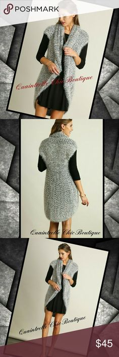 """CUDDLE ME SHAWL COLLAR SWEATER VEST Every moment in this elegant open draping shawl collar vest will be filled soft cuddles. You will not be able to stop touching this gorgeous sweater vest!!   60% Cotton 40% Polyester  S/M- Bust ~40"""" Length ~34"""" M/L- Bust ~44"""" Length ~34"""" Quaintrelle Chic Boutique Jackets & Coats Vests"""
