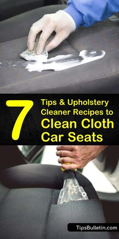 Learn how to remove upholstery stains from vehicles using baking soda, white vinegar, dish soap, and a toothbrush in a few simple steps. Clean away old grime and dirt from cloth car seats to keep your car looking like new. Cleaning Fabric Car Seats, Clean Cloth Car Seats, Cleaning Leather Car Seats, Cleaning Car Upholstery, Car Seat Stain Remover, Car Seat Upholstery, Car Fabric, Car Cleaning Hacks, Autos