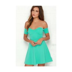 Kalolia Sexy Boat Neckline Off The Shoulder A Strapless Dress ($36) ❤ liked on Polyvore featuring dresses, sexy dresses, green cocktail dress, green mini dress, off shoulder dress and mini dress