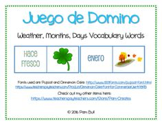 English+to+Spanish+Dominos+-+Months+-+Days+-+Weather+from+Teacher+Crafted+Studio+on+TeachersNotebook.com+-++(9+pages)++-+Spanish+to+English+domino's+game+using+Months,+Days+of+the+week+and+weather+sayings.