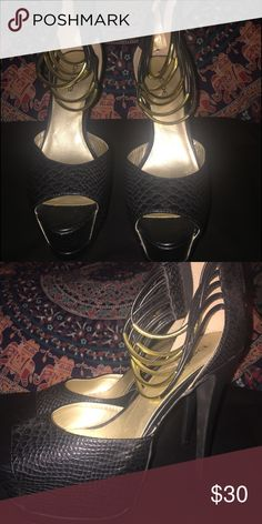 Bebe Platform Heels Never worn. Sole is clean. They are gorgeous! bebe Shoes Platforms