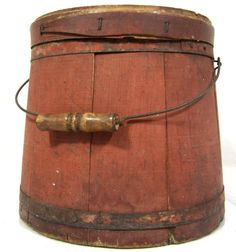 Antique 19thC MINCEMEAT FIRKIN SALMON PAINT AAFA Primitive Folk Art Pantry Box
