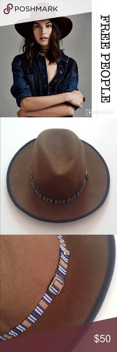 ⚡️WK SALE⚡️FREE PEOPLE BROWN FELT HAT Gorgeous Free People Felt Hat in a brown color, featuring an exclusive decorative trim around the hat (See picture). 100% Wool. Never worn. Free People Accessories Hats