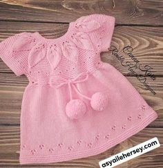 Ladies Cardigan Knitting Patterns, Baby Sweater Knitting Pattern, Baby Knitting Patterns, Baby Patterns, Knit Baby Dress, Crochet Baby Clothes, Little Girl Dresses, Girls Dresses, Baby Dress Design