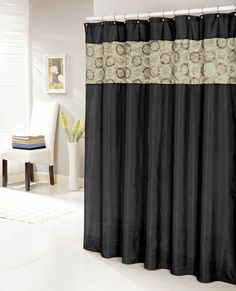 Black Faux Silk Shower Curtain With 14 Textured And Circle Patterned Taupe Stripe