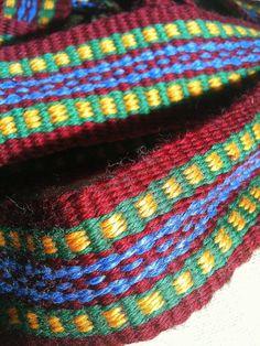 burgundy blue green yellow belt sash inkle loom woven wool