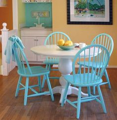Wendy Pedestal Table/perfect for my little eat-in kitchen space...love these colors!