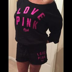NWT Victoria's Secret PINK SWEATSHIRT & PANTS SET Victoria's Secret PINK Slouchy NWT Off-the-Shoulder Crew Sweatshirt and matching shorts Set, SIZE LARGE & MEDIUM SHORTS black with pink graphics. Victoria's Secret Sweaters
