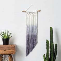 Ombre Dip Dye Macrame Wall Hanging by Mara Studio, the perfect gift for Explore more unique gifts in our curated marketplace. Dip Dye Fabric, How To Dye Fabric, Yarn Wall Art, Yarn Wall Hanging, Wall Hangings, Pink Dip Dye, Hot Dog Bar, Recycled Fabric, Handmade Decorations