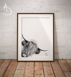 HIGHLAND COW Art Print, Highland Cow Print Black and White, Farm Animals, Highland Cow Printable, Highland Cow Decor, Highland Cow Wall Art, by AmberstoneDesign on Etsy