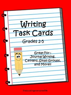 Writing Task Cards~ Includes 60 Task Cards to use in your centers, during journal time, or during small group instruction.