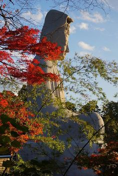 Travel Inspiration for Japan - Ryozen Kannon Temple 霊山観音 The 24-meter concrete image of the Goddess of Mercy was built in 1955 to honour the dead of World War II, both Japanese and Allied soldiers..