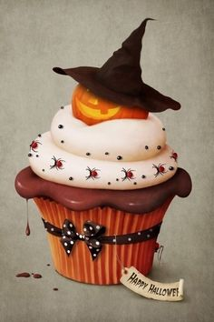 These Halloween cupcakes are very detailed and so adorable, right down to the trim on the cupcake liner. These would be perfect for any Halloween themed event. Halloween Cupcakes, Dessert Halloween, Halloween Goodies, Halloween Food For Party, Halloween Treats, Happy Halloween, Holiday Cupcakes, Halloween Images, Vintage Halloween