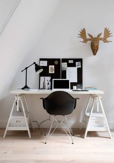 @Meredith Judge, this is a good (cheap) idea for the desk in the closet thing...two (painted) horses and (painted) piece of wood on top. Lacks storage, but it's a start!