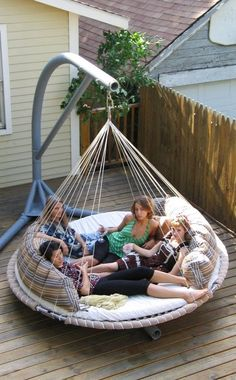 Outdoor Bed, Hammock Bed -The Floating Bed Co. Hmmm does anyone have an old trampoline?
