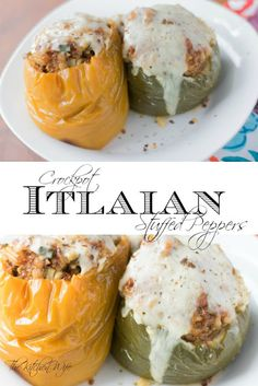 Crockpot Italian Stuffed Peppers Recipe - ~The Kitchen Wife~