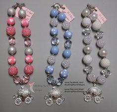 Princess Carriage Rhinestone Pink Blue or White Bubblegum Bead Necklace  (Matching Bracelet & Headband available)