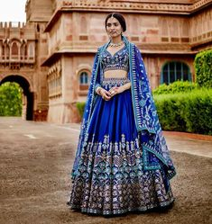 Buy Shree Mira Impex Blue Embroidered Silk Lehenga online in India at best price. Indian Bridal Outfits, Indian Bridal Lehenga, Indian Bridal Wear, Indian Gowns, Indian Designer Outfits, Indian Attire, Indian Wear, Lehenga Wedding, Indian Designers