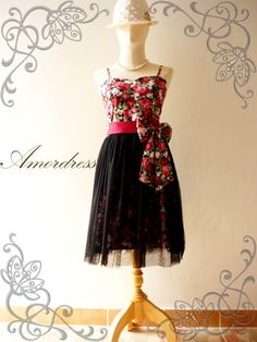 Amor Vintage Inspired Black Tutu Red Floral Dress for Wedding Prom -Princess Romance-- Fit XS-S-. $65.00, via Etsy.