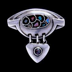 Jugendstil silver brooch with opal shards set in glass paste. Patriz Huber for Theodor Fahrner, Germany, 1900-1902.