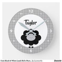 Cute Black & White Lamb Kid's Nursery Custom Name Round Clock