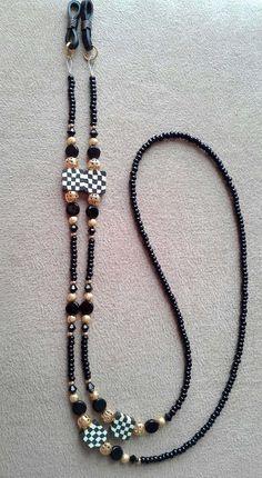Handmade Black and White Check Checkered Beaded Eyeglass Chain Eyeglass Holder, Czech Glass Beads, Crystal Beads, Swarovski Crystals, Eyeglasses, Beaded Jewelry, Creations, Beaded Necklace, Jewelry Design