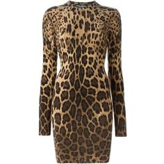 Dolce & Gabbana leopard sweater dress ($2,270) ❤ liked on Polyvore featuring dresses, long sleeve sweater dress, crew neck dress, sweater dress, cashmere sweater dress and leopard dress