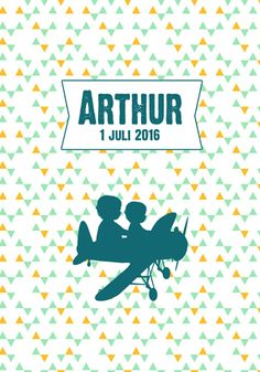 Geboortekaartje Arthur - Pimpelpluis - https://www.facebook.com/pages/Pimpelpluis/188675421305550?ref=hl (# jongen - grote broer - vliegtuig - vintage - retro - silhouet - lief - origineel)