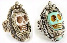 Day of the Dead Skull Queen Rings from Ollipop Jewelry - Carved skull features a crystal and pearl encrusted crown.Choice of turquoise or ivory bone skull.