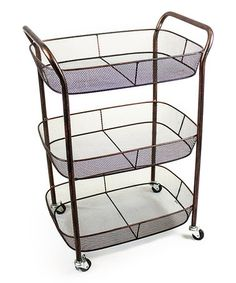 Simple mesh wire baskets lend plenty of mobile storage to Sagebrook Home Three Tiered Serving Cart . Finished in a brilliant bronze, this three-tiered. Metal Cart, Kitchen Island Cart, Kitchen Islands, Tidy Kitchen, Kitchen Tools, Kitchen Ideas, Gold Bar Cart, Serving Cart, Utility Cart