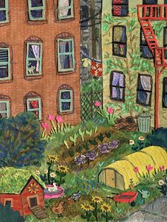 Urban garden by phoebe wahl allotments, collage, garden illustration, latest issue, garden Art And Illustration, Arte Sketchbook, Garden Journal, Naive Art, Conte, Kitsch, Garden Art, Art Inspo, Folk Art