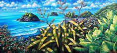 Celebrating New Zealand's coastline and iconic native plants New Zealand Art, Nz Art, Kiwiana, New Words, Native Plants, Landscape Art, Contemporary Artists, Home Art, Nativity